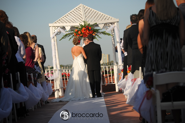 ceremony in front of gazebo long beach wedding on the roof of The Reef