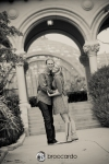 balboa park black and white engagement photo