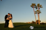 bride and groom and palm trees, huntington beach